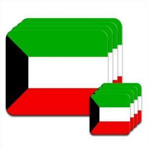 Kuwait-Flag-Set-of-4-Placemats-amp-Coasters