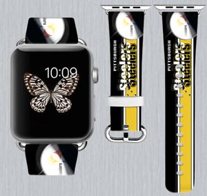 16b94801333 Pittsburgh Steelers Apple Watch Band 38 40 42 44 mm IWatch PU ...