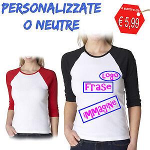 T-Shirt-Personalizzata-o-Neutra-Maglietta-Donna-Manica-Colorata-Stampa-Logo