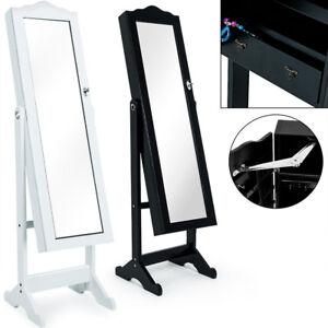 Détails sur Armoire à bijoux moderne avec miroir et tiroirs blanc noir  Rangement accessoires