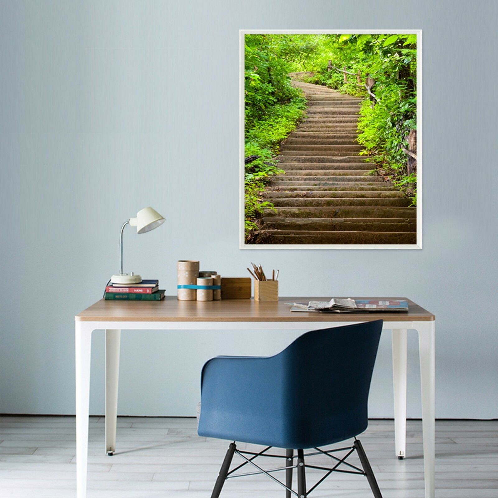 3D Green Plant Stairs 3 Framed Poster Home Decor Print Painting Art AJ WALLPAPER