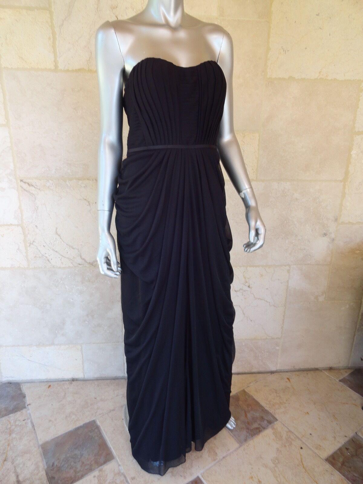 229 JS BOUTIQUE Noir Buscravater en mousseline de soie court robe de soirée Robe SZ 8 Neuf avec étiquettes