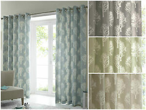 Woodland-Trees-Motif-Print-Eyelet-Ring-Top-Lined-Ready-Made-Curtains-100-Cotton