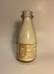 Vintage Will's Dairy Milk Bottle UNIQUE SHAPE Orange Pyro Lettering Quart Size