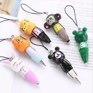 1Pc-Mini-Lovely-Wooden-Cartoon-Animal-Ball-Point-Pen-Keychain-Phone-Pendant
