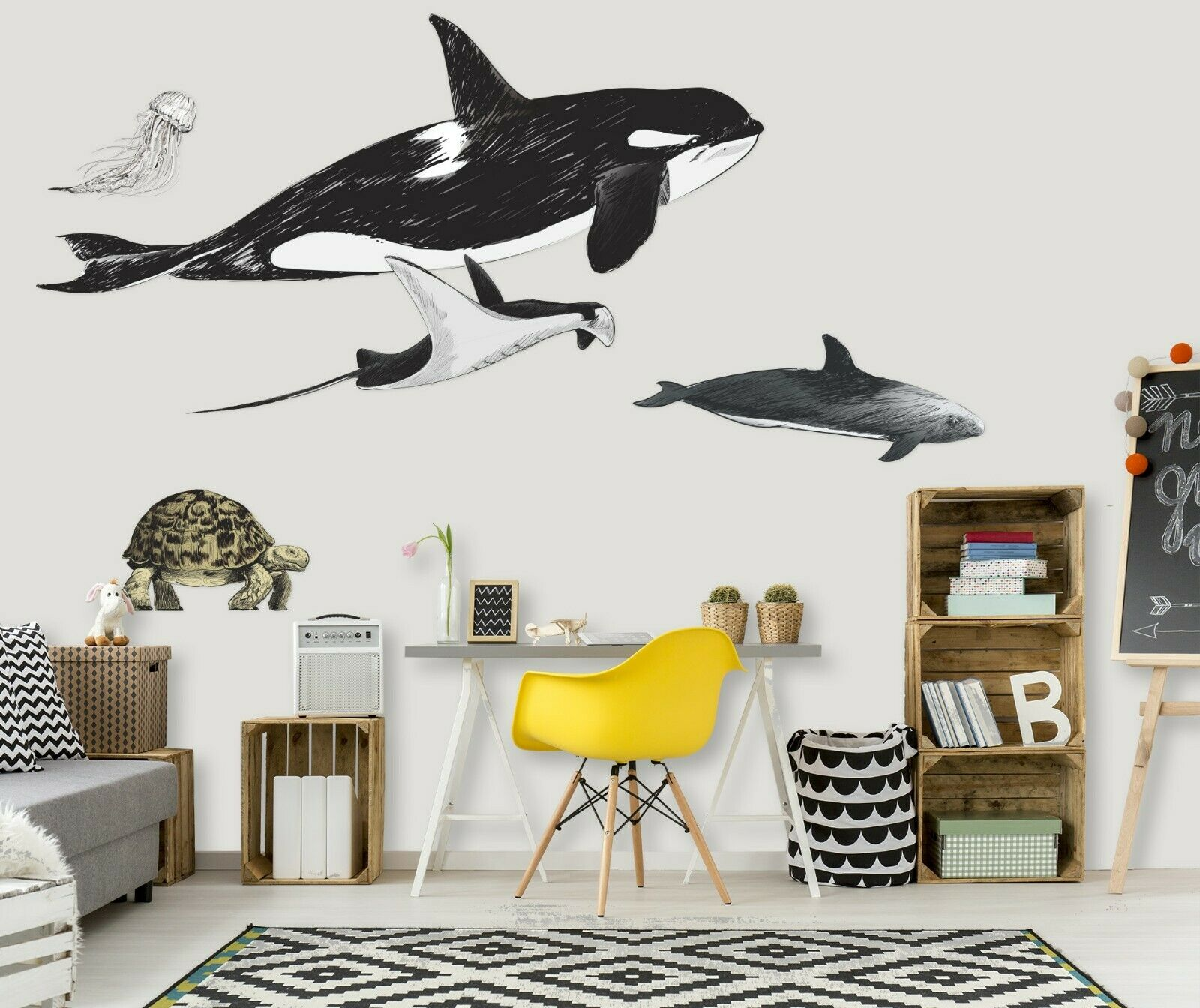 3D Whale Sea Turtle P49 Animal Wallpaper Mural Self-adhesive Removable Zoe