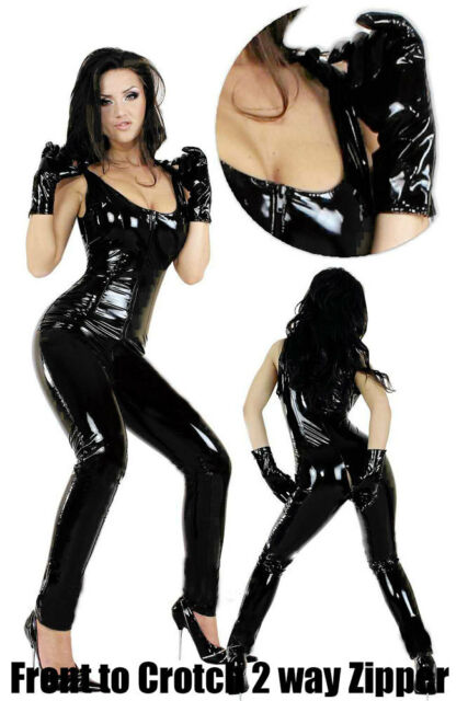 Sexy Lingerie PVC Goth Punk Vinyl Jumpsuit Faux leather Overall Catsuit clubwear