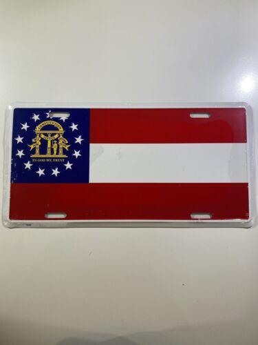 Georgia GA State Flag Aluminum Metal Novelty Car License Plate Sign Tag