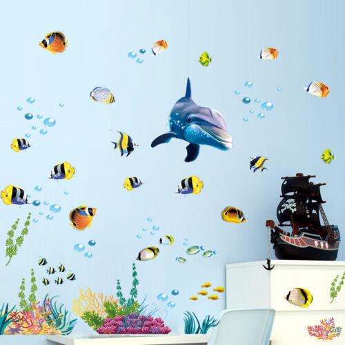 Ocean World Waterproof Wall Sticker Kids Bathroom Dolphin Window Mural Deceor