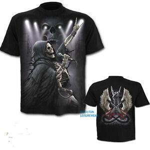 SPIRAL-DIRECT-ROCK-4-EVER-BLACK-T-SHIRT-S-to-XXL-Biker-Gothic-Skeleton-Music