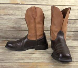 50c23cd991f Details about Ariat Cowboy Boots Brown Tan Leather Mens Size 8 D Western  Square Toes Distress