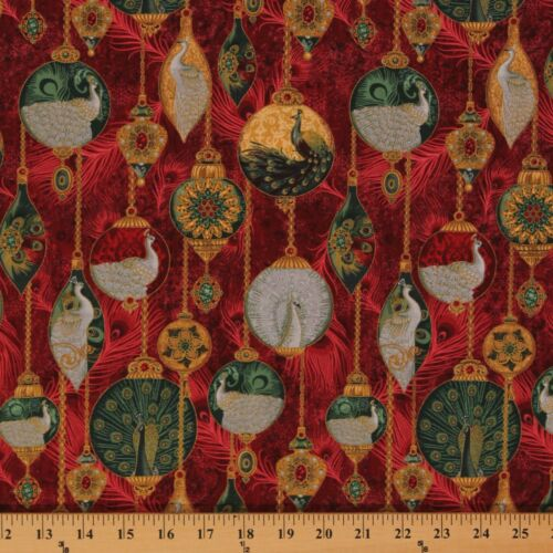 Peacock Ornaments Metallic Christmas Bird Feathers Cotton Fabric Print D474.22