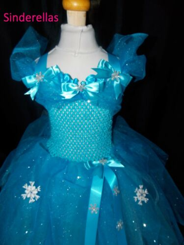 NEW Handmade dress with Sparkle net ages 1-19 Girls Frozen Elsa Inspired