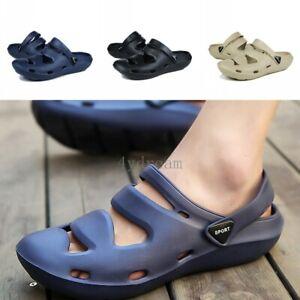 Men-039-s-Hollow-out-Sandal-Slipper-Closed-Toe-Jelly-Garden-Beach-Walk-Beach-Shoes