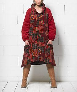 DéSintéRessé Femmes Coton Boho Manteau Taille 10 Veste Rouge & Orange à Motifs Géométriques-afficher Le Titre D'origine Limpide à Vue