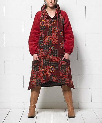 Cappotto Donna Cotone Boho Taglia 10 Giacca Rosso & Arancione Geometrica-mostra Il Titolo Originale
