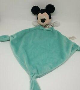 01-Doudou-Mickey-Disney-Nicotoy-plat-bleu-turquoise-cube-ABCD-rayure-gris-TBE
