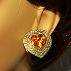19.80 Carat Natural Citrine 14K Solid Yellow Gold Diamond Heart Earrings