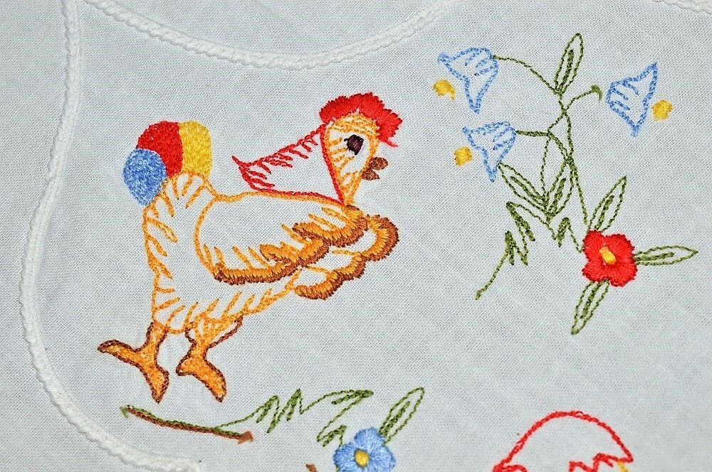 MOMMA HEN WITH SCARF & EASTER BUNNY FRIENDSHIP  VTG GERMAN TABLECLOTH CUTWORK