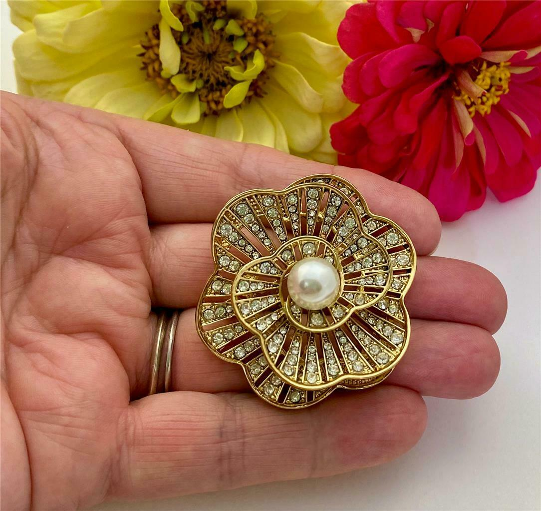 Retired NAPIER Crystal Rhinestone & Faux Pearl 3D… - image 5