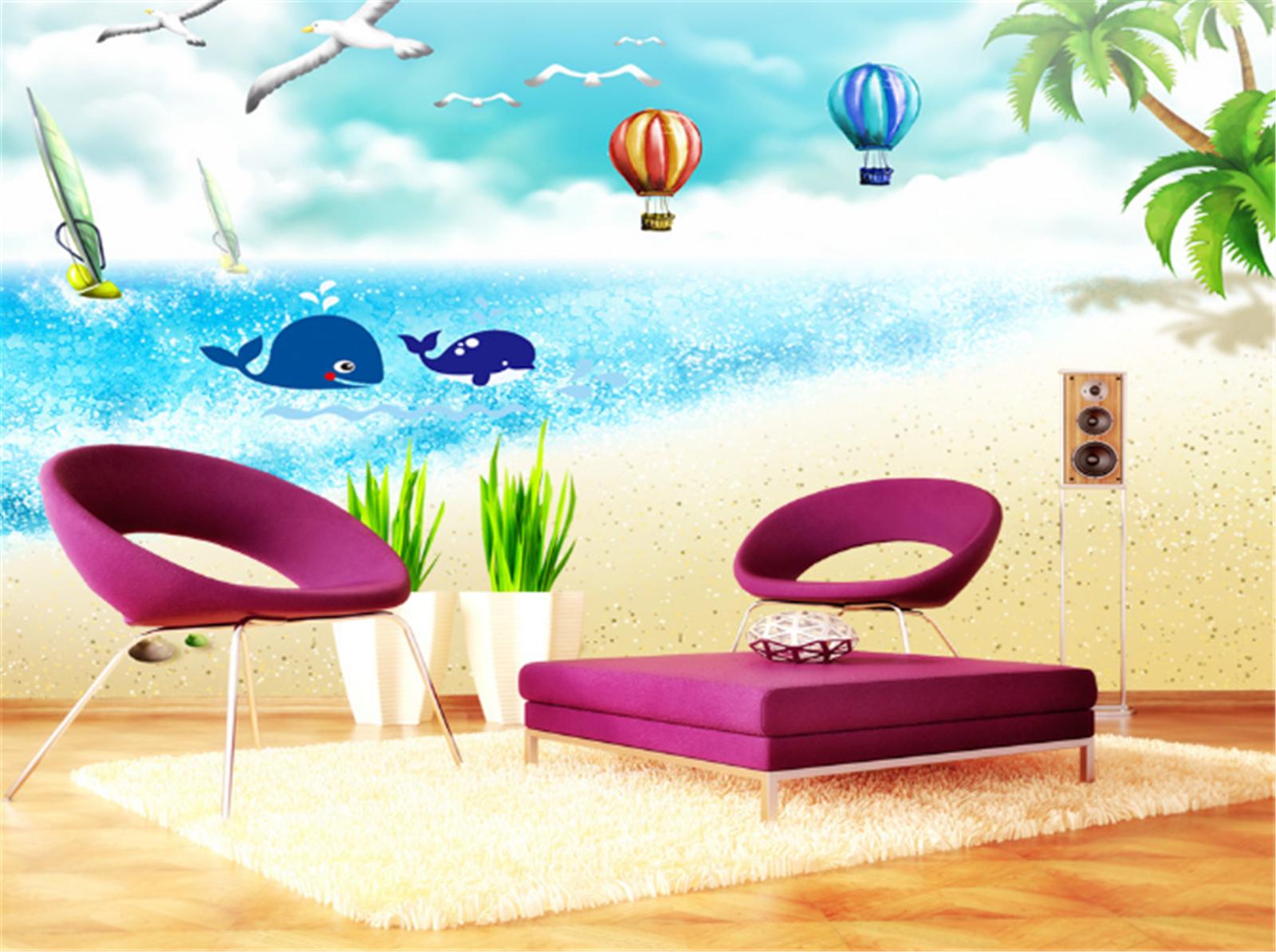 3D Ozean Strand Wal Vogel 833 Tapete Wandgemälde Tapeten Bild Familie DE Lemon