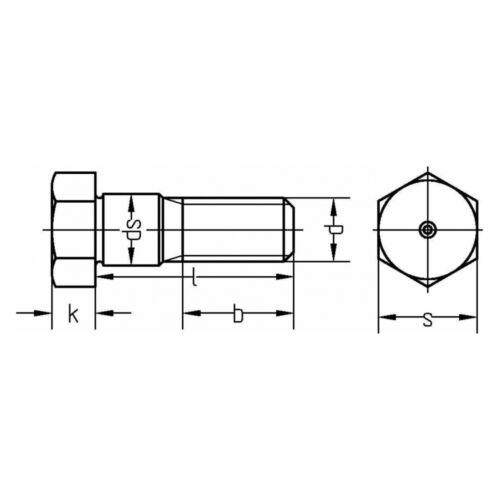 DIN 609 Sechskant-Paßschraube mit langem Gewinde M12 x 65 8.8 blank