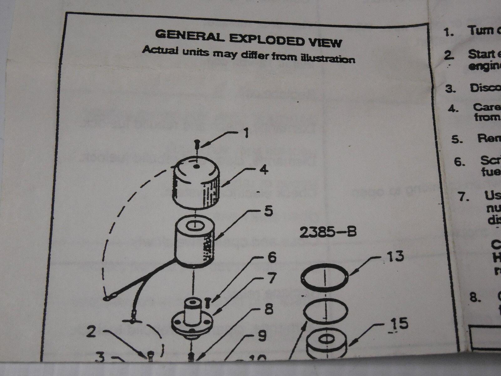 CENTURY 2385 REPAIR KIT 12V LOCK OFF LOCKOFF FILTER REBUILD BULKHEAD 2385B B