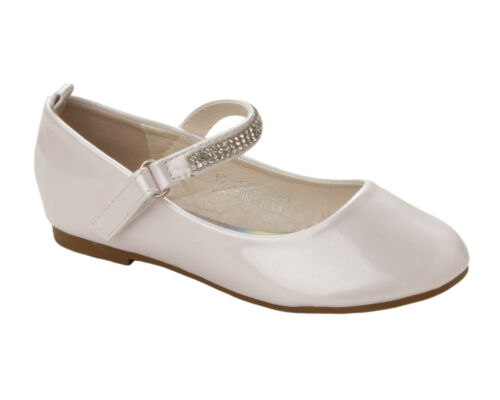 GIRLS WHITE PATENT DIAMANTE BRIDESMAID PARTY COMMUNION PUMPS SHOES UK SIZE 10-2