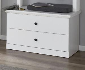 Details zu Sitzbank Garderobe Bank weiß Landhaus für Flur Diele  Garderobenbank Möbel Baxter