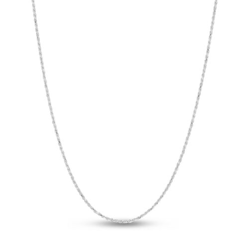 Sterling Silver Rhodium Plated Diamond-Cut Rope Chain Necklace 1.4mm-1.8mm-2.3mm