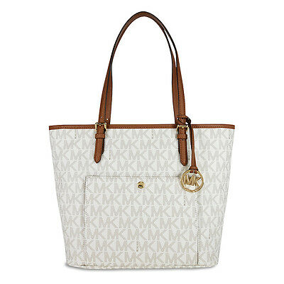 Michael Kors Jet Set Large Top Zip Snap Pocket Tote - Vanilla