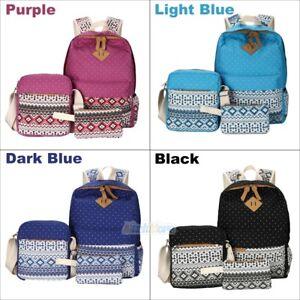 3Pcs-Women-Girl-Canvas-Cute-Backpack-Rucksack-School-Travel-Shoulder-Teen-Bag