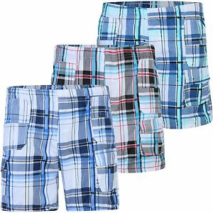 Kids Short Lightweight Multipocket Shorts Kids Checked Cargo Bottoms 3-14 Years