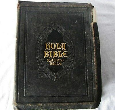 ANTIQUE 1924 MASON JOHN HERTEL RED LETTER LEATHER TEMPERANCE INDEXED HOLY BIBLE