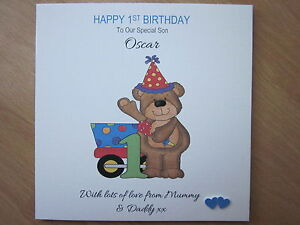Handmade Th Birthday Cards Son ~ Personalised handmade boys st first birthday card son brother