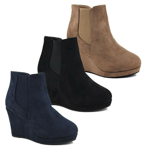 WOMENS CASUAL PLATFORM CHELSEA ANKLE BOOTS WEDGE HEEL LADIES SHOES SIZE 3-8