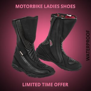 Women-Motorbike-Motorcycle-Racing-Leather-Shoes-Waterproof-Touring-Boot-Armoured