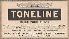 Y7280 Huile pour autos TONELINE - Pubblicità d'epoca - 1928 Old advertising