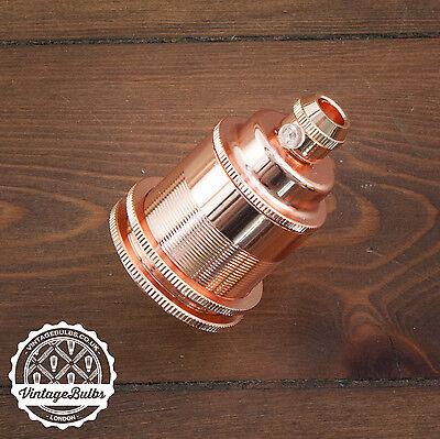 Vintage metal pendant lamp holder retro antique style light E27 #2 4 finishes