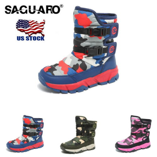 2019 Unisex Kids Boys Girls Snow Boots Warm Thicken Ankle Boots Waterproof Shoes