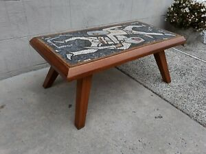 Unique-Tile-Mosaic-Coffee-Table-Mid-Century-Modern-Abstract-Fencing-Sword
