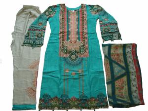 Maria B Costume en lin brodé prêts Pakistanais Indien hiver 2019 NEUF