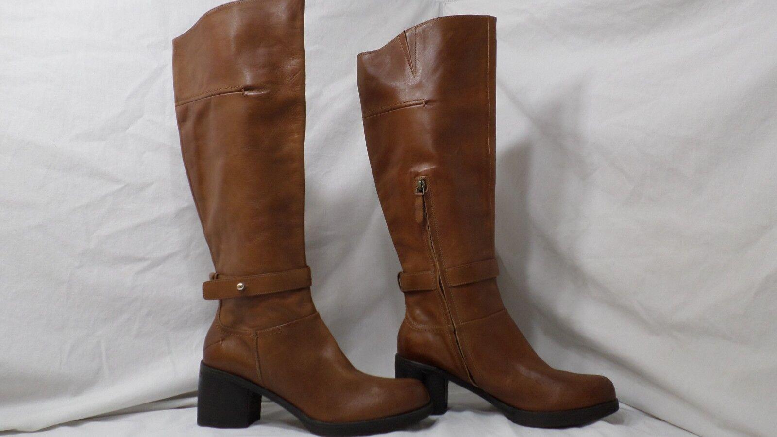 Halogen Chestnut Marronee Leather Chunky Heel Knee High avvio Mismatch Dimensione 9 9.5 M