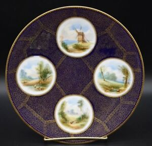 E-J-Bodley-English-Hand-Painted-Aesthetic-Period-Cobalt-Blue-amp-Gold-9-034-Plate
