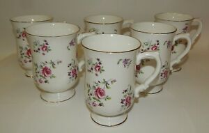6 Royal Victoria Fine Bone China Pink Roses Purple Floral Footed Tea Coffee Cups