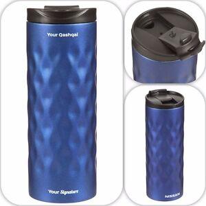 Nissan-Qashqai-Metal-Taza-Termica-Geometrico-Botella-Azul-Nuevo-Original-QAS005BL