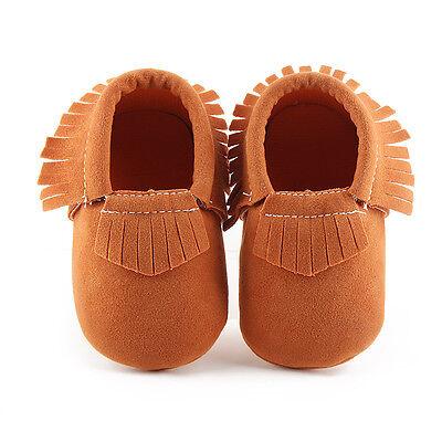 UK SELL Baby Kid Fringe Soft Sole Moccasin Boys Girls Toddler Leather Crib Shoes