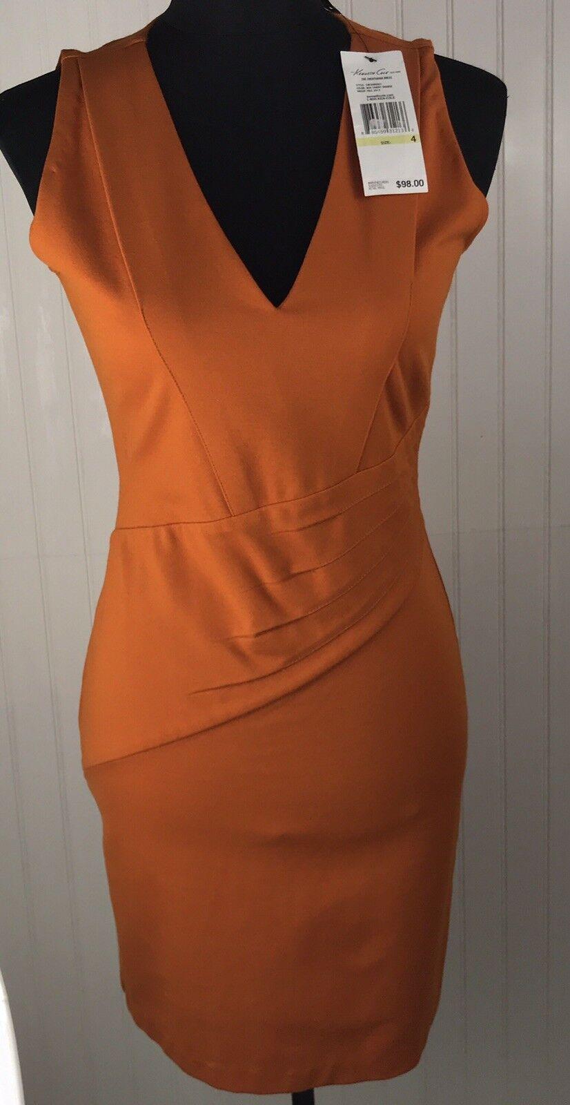 NWT KENNETH COLE NEW YORK THEOPHANIA Burnt orange DRESS SIZE 4