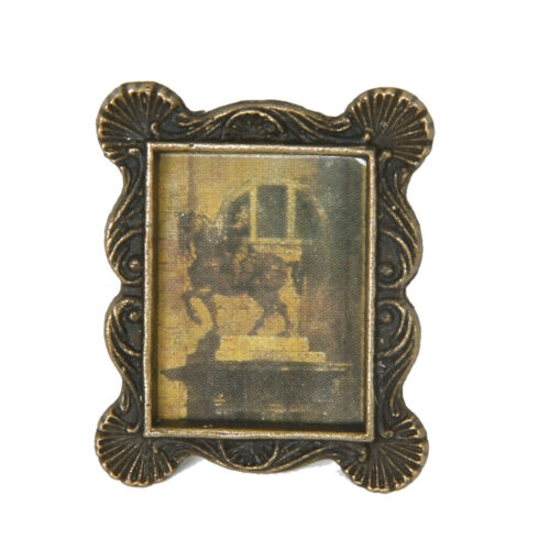 Vintage Style 1:12 Dollhouse Miniature Copper Picture Photo Frame Ornaments