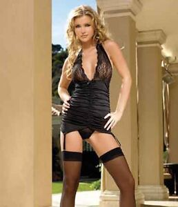 Leg-Avenue-Black-Lace-Halter-Top-Ruched-Camigarter-and-G-string-8435